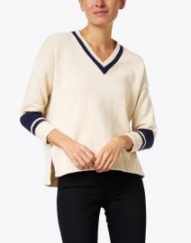 Weekend Max Mara - Bird Beige and Navy Striped Cotton Sweater