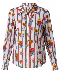 Streep Floral and Striped Cotton Shirt