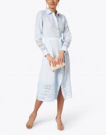 120% Lino - Light Blue Eyelet Linen Dress