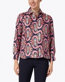 Vilagallo - Isabella Pink Multi Geo Print Silk Shirt