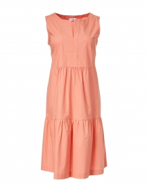 Coral Stretch Cotton Tiered Dress