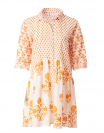 Deauville Coral and White Floral Print Shirt Dress