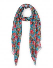 Blue Ombre Rose Floral Silk Cashmere Scarf
