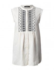 Albany Ivory Embroidered Linen Top