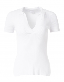 White Mixed Stitch Polo Top