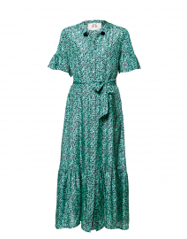 Saskia Mint Floral Silk Dress