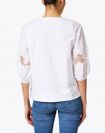 WHY CI - White Floral Embroidered Cotton Top