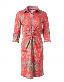 Red Plume Printed Twist Front Dress