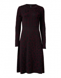 Plum and Black Animal Print Knit Dress