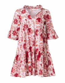 Maria Red and White Floral Cotton Voile Dress