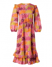 Leila Pink and Orange Petal Printed Cotton Dress