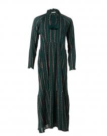Garnet Mateaus Dark Green Stripe Cotton Dress
