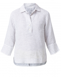 Aileen White and Black Striped Button Back Linen Shirt