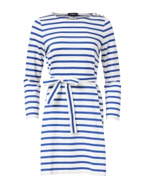 Dark Blue and White Striped Jersey Dress