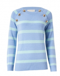 Periwinkle and Mint Striped Merino Wool Sweater