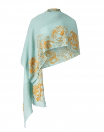 Seafoam and Gold Rose Embellished Wool Scarf