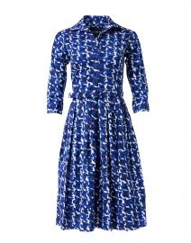 Audrey Blue Houndstooth Printed Stretch Cotton Dress