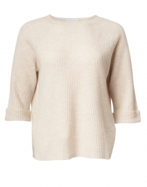 Marble Beige Ribbed Cashmere Sweater