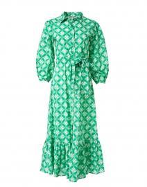 Maxima Green Leaf Print Cotton Dress