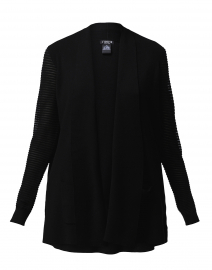 Black Knit Cardigan with Mesh Striped Sleeves
