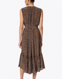 Megan Park - Ishra Blue and Orange Print Beaded Silk Dress