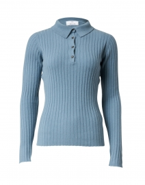 Blue Cashmere Ribbed Polo Sweater