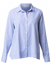 Blue and White Stripped Button Down Top