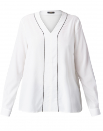 White Stretch Silk Crepe Blouse