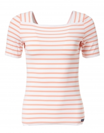 Pleneuf White and Coral Striped Jersey Top