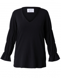Hydrangea Black Ruched Cotton Top