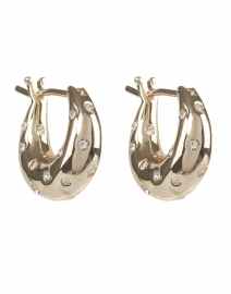Adeline Gold and Rhinestones Mini Dome Hoop Earrings