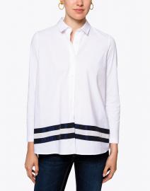 WHY CI - White Button Down Shirt with Navy Taffeta Trim
