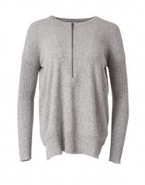 Light Grey Zip Up Cashmere Henley Sweater