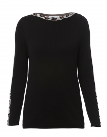 Black Cotton Sweater with Leopard Trim