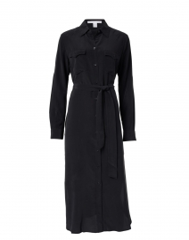 Dicallura Black Silk Shirt Dress