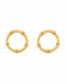 Gold Bamboo Pave Encrusted Hoop Earrings