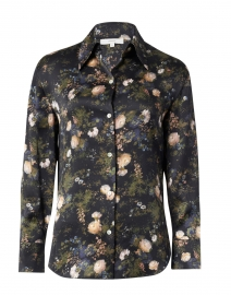 Black and Pink Floral Silk Shirt