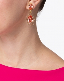 Oscar de la Renta - Pink Crystal and Gold Drop Earring