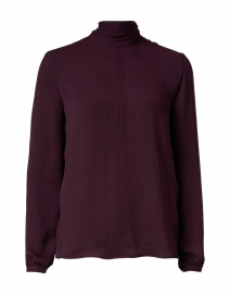 Plum Crepe Mock Neck Blouse
