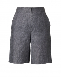 Navy Linen Bermuda Shorts