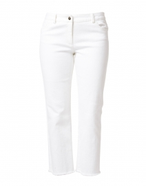 White Stretch Cotton Five Pocket Crop Jean