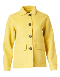 Biavo Yellow Wool Button Up Collared Jacket