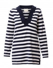 Navy and White Striped Cotton Tunic Sweater