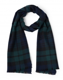 Navy and Green Extra Fine Merino Tartan Scarf