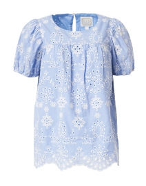 Blue Hydrangea Embroidered Cotton Top