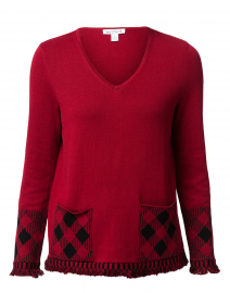 Red Cotton Sweater with Plaid Pockets
