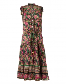 Paula Green and Pink Floral Silk Cotton Voile Dress