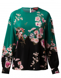 Este Green and Black Floral Silk Blouse