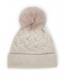 Beige Cashmere Cable Hat