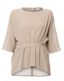 Beige Cotton Blouse with Brilliant Collar Detail